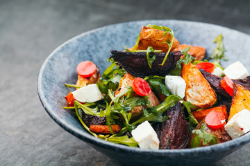 Potato, beet root salad with cheese