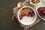 Healthy Breakfast. Oatmeal in a white bowl - 243568775