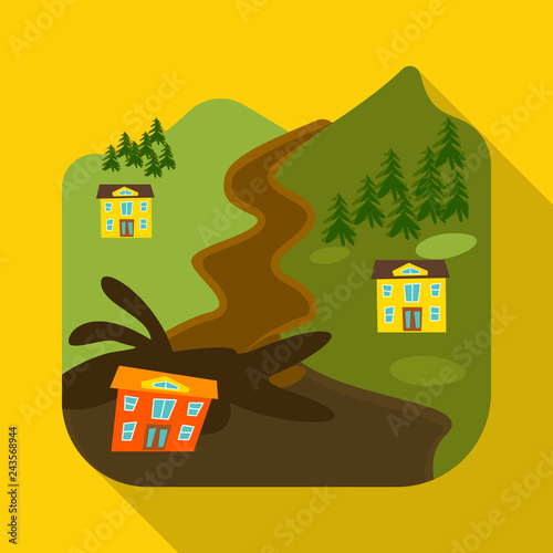 Vector illustration of collapse and environment  symbol. Collection of collapse and distress stock symbol for web.