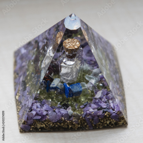 Orgonite - pyramid with a vial and stones inside. - 243574199
