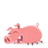 funny cartoon illustration of a lazy pig  - 243574383