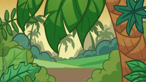 Cartoon jungle background. Vector clip art illustration with simple gradients. Some elements on separate layers.