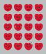 Cartoon Heart Kid Face Emoticons Vector Illustration - 243596972