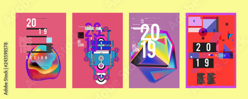 2019 New Poster Design Template. Trendy Vector Typography and Colorful Illustration Collage for Cover and Page Layout Design Template in eps10 - 243598578