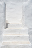 White painted stairs in a traditional Cycladic architecture style - 243598776