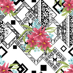 Seamless floral pink flowers on ornamental pattern © fuzzyfox