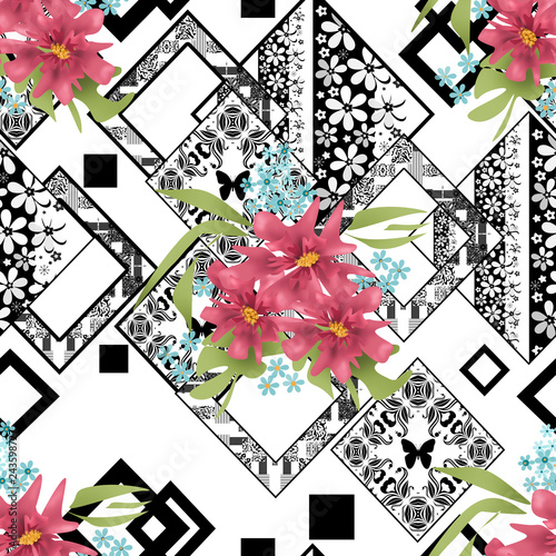 Seamless floral pink flowers on ornamental pattern - 243598727