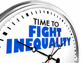 Time to Fight Inequality Injustice Clock Words 3d Illustration - 243599599