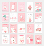 Valentine's Day background with cute baby animal cartoon