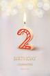 Burning number 2 birthday candle with birthday celebration text on light blurred background. Vector secod birthday invitation template.