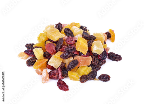 Dried fruits isolated on white background - 243600518