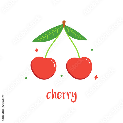 Cartoon style cherry berries with leaves isolated on white background.