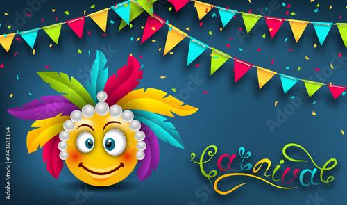 Happy Carnival Festive Banner, Smile Emoji, Lettering Text