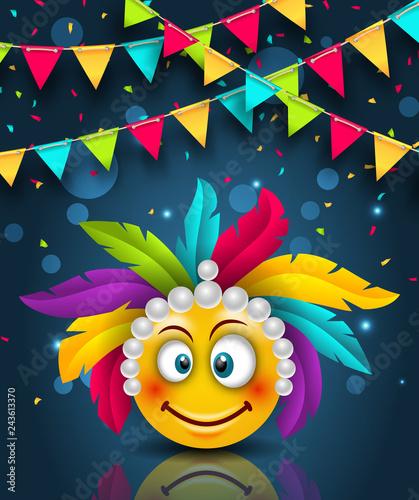 Happy Carnival Festive Banner, Smile Emoji with Headdress