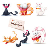 Cute, funny, crazy cat illustration.