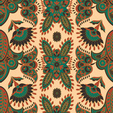 Floral seamless textile pattern in asian batik style - 243618376