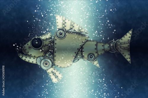 obraz PCV Steampunk style piranha