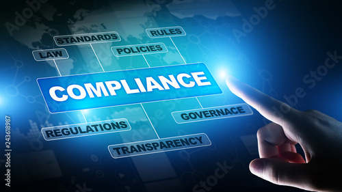 Compliance concept with icons and text. Regulations, law, standards, requirements, audit diagram on virtual screen. - 243618987