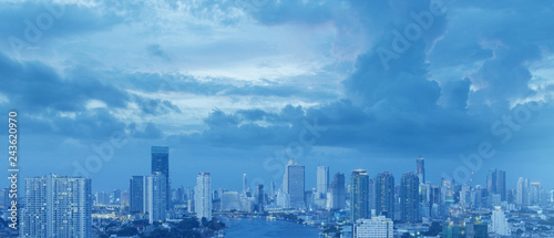 Bangkok city skyline aerial view in blue tone with beautiful sky. - 243620970