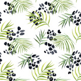 Watercolor abstract tropical vector pattern - 243622117