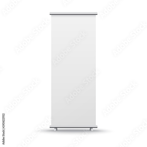 Roll up banner stand isolated on white background. Vector blank display mockup for presentation or exhibition product template.