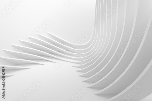 White Wave Background. Abstract Minimal Exterior Design