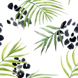 Watercolor abstract tropical vector pattern - 243629560