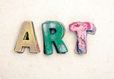 the wor ART  wit old wooden letters - 243630971