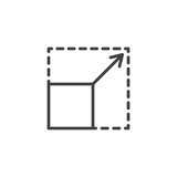 Scalability line icon. linear style sign for mobile concept and web design. Square with corners and arrow outline vector icon. Symbol, logo illustration. Pixel perfect vector graphics - 243633972