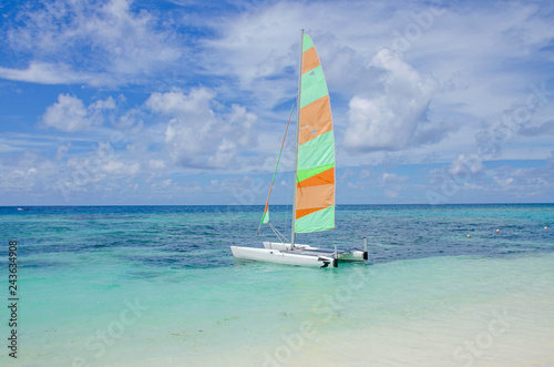 Sailing vessel ashore island of Maafushi Maldives