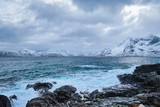 Norwegian Sea waves on rocky coast of Lofoten islands, Norway - 243635748