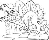 cartoon predatory dinosaur spinosaurus, coloring book, funny illustration
