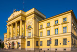 Warsaw, Poland - Front view of the Mostowski Palace, historic classicist residence in the Muranow district of Warsaw currently serving as Warsaw metropolitan police headquarters