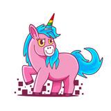 Cute Beautiful pink Unicorn with rainbow horn