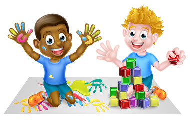 Cartoon boys playing with toys, with paints and toy building blocks © Christos Georghiou