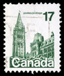Stamp printed in Canada shows Parliament Buildings, circa 1977