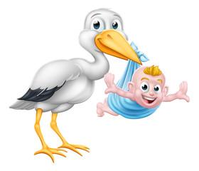 A stork or crane cartoon bird carrying a new born baby as in the pregnancy myth. © Christos Georghiou