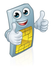 A mobile phone sim card cartoon character mascot giving a double thumbs up. © Christos Georghiou