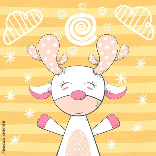 Cartoon funny deer character. Winter illustration. © HandDraw
