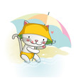 Cute cartoon little cat  with umbrella.  - 243651193