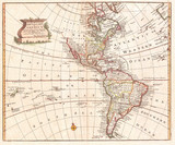 Map of North America and South America, Western Hemisphere, 1747 Bowen