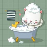 Cute cat taking a bath