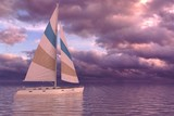 Sailing on sea and sunset 3d illustration - 243653594