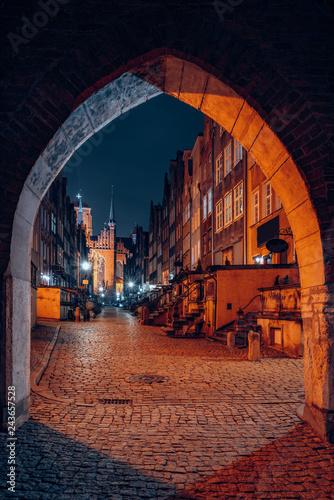 obraz lub plakat Gdansk old town at night