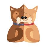 Hugging Dogs Postcard Vector illustration