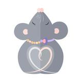 Hugging Mouse Postcard Vector illustration