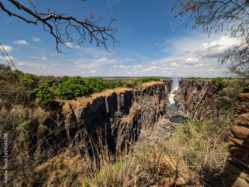 Sticker Victoria Falls at Zambia side, one of most iconic African natural landmarks