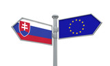 Slovakia and European Union guidepost. Moving in different directions. 3D Rendering