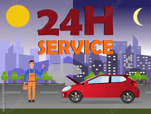 Fridge magnet 24/7 car service (repair) concept. Repairman in the city near a broken car.