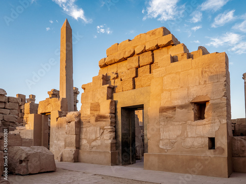 Temple of Karnak known as Karnak in Luxor with the Great Obelisk and ancient hieroglyphics on the stone walls